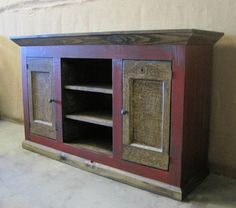 Beautiful Vibrant Red Media Console/ TV Cabinet by ZacoCreations, $995.00