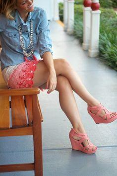 Very Female ombre crochet shorts