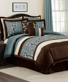 Take a look at this Blue Cocoa Flower Comforter Set by Triangle Home Fashions on #zulily today!