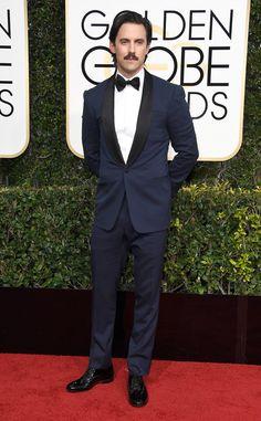 Milo Ventimiglia from 2017 Golden Globes Red Carpet Arrivals  In Ralph Lauren