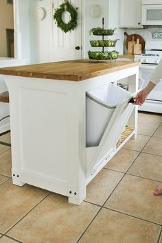 Home Remodel Videos DIY movable Kitchen Island with Trash Storage.Home Remodel Videos DIY movable Kitchen Island with Trash Storage Kitchen Island Storage, Diy Kitchen Storage, Kitchen Redo, New Kitchen, Kitchen Organization, Organization Ideas, Awesome Kitchen, Island In Small Kitchen, Hidden Kitchen