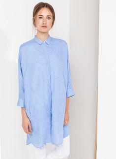 Uterqüe España - Blusón lino azul