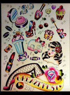 I freaking looooove Rockabilly inspired tattoos! Makeup Tattoos, Girly Tattoos, Body Art Tattoos, Tattoo Drawings, New Tattoos, Tatoos, Tatto Old, Tatoo Art, Tatuagem Pin Up