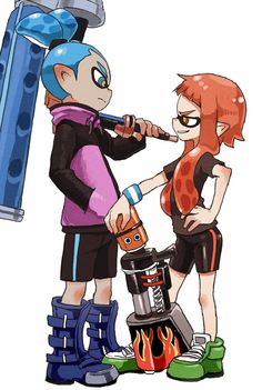 1boy 1girl absurdres anniversary bike_shorts blue_boots blue_eyes blue_hair boots green_shoes highres inkling orange_eyes orange_hair paint_gun paint_roller pointy_ears shoes splatoon tentacle_hair white_background yamamoto_souichirou