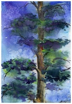 Pine tree in watercolours by guni03 on deviantART - nice use of light and dark colours to create depth