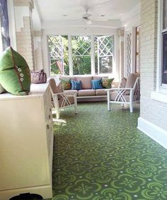 Billet Collins stenciled floor, love the happy colours in this room. Deck Flooring, Basement Flooring, Kitchen Flooring, Kitchen Backsplash, Painted Porch Floors, Stenciled Floor, Floor Stencil, Building A Porch, House With Porch