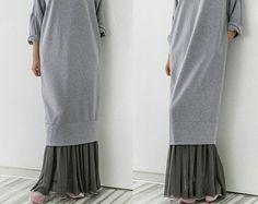 Grey and White Maxi dress Caftan Plus size por cherryblossomsdress