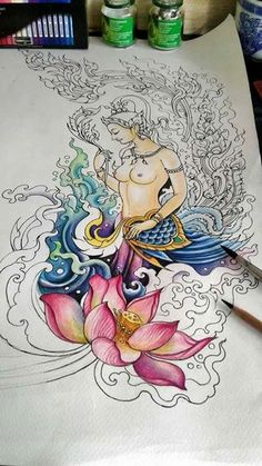 Art Sketches, Art Drawings, Thailand Art, Tibetan Art, Buddha Art, Thai Art, Indian Art, Mehndi, Creative Art