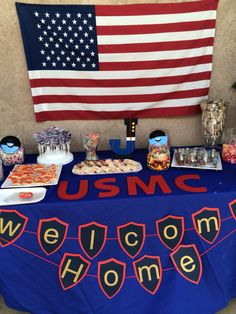 USMC welcome home party dessert table - USMC welcome home party dessert table Imágenes efectivas que le proporcionamos sobre healthy eating - Marine Homecoming, Marine Graduation, Military Welcome Home, Welcome Home Soldier, Welcome Back Party, Welcome Home Parties, Marines Boot Camp, Deployment Party, Military Party