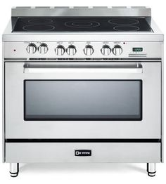 Verona Freestanding Electric Range With 5 Radiant Elements Cu Convection Oven Storage Drawer And Ez Clean Porcelain