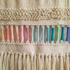 Pastel rainbow Weaving woven wall hanging tapestry by Maryanne Moodie. Pastel rainbow W Weaving Textiles, Weaving Art, Weaving Patterns, Tapestry Weaving, Loom Weaving, Hand Weaving, Stitch Patterns, Woven Wall Hanging, Tapestry Wall Hanging