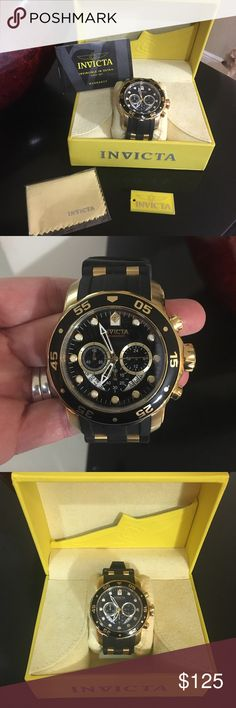 NWOT Invicta watch. ⌚️ The super cool, black and gold Invicta Men's Pro Diver Collection Chronograph Black Dial Black Polyurethane Watch is a high-performance sports watch for the modern man. Japanese quartz movement with analog display. Protective mineral crystal dial window. Water resistant to 330 feet (100 M) Invicta Accessories Watches