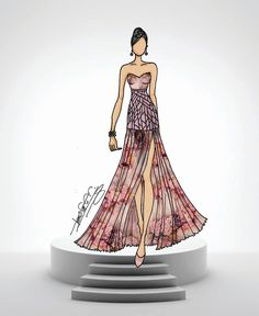 Fashion illustration showing juxtaposed fabric print and color on the illustration. In Bernadette Fashion Book, available at Amazon.