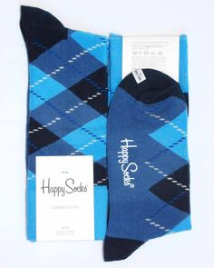 Various-Blues Diamond Argyle Mens Dress Sock - Happy Socks