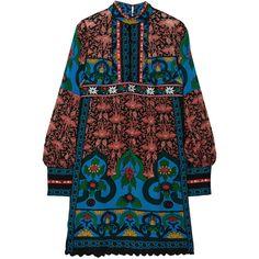 Anna Sui Printed silk-chiffon mini dress (£575) ❤ liked on Polyvore featuring dresses, red, red dress, short sleeve dress, short dresses, scalloped dress and print mini dress