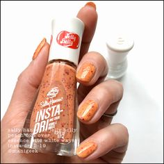 """""""Peach"""" peachy orange crelly with red metallic glitters. Latest Nail Colours, Nail Colors, Jelly Belly Beans, Jelly Beans, Jelly Nails, Just Pretend, Nail Polish Collection, Sally Hansen, Makeup Tips"""