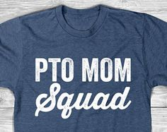 PTO MOM Squad T-Shirt with White Ink, Womens T Shirt, Family T-shirt, Unisex, Funny T-Shirt , womens, Ladies, Cotton Screen Printed T-Shirt