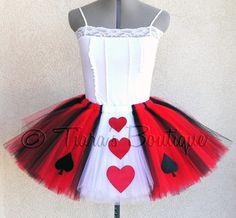 Halloween Tutu Costume - New Queen of Hearts Tutu - Adult Teen Juniors Tutu - Custom Sewn Tutu - Adult Size Small. $68.00, via Etsy.