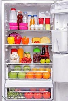 Правильное хранение продуктов в холодильнике.  1. Если хранить лук в колготках, он не будет портиться до 8 месяцев 2. Храните резанный зеленый лук в морозилке в пластиковых бутылках. Только убедитесь, что лук абсолютно сухой, прежде чем засыпать его в бутылку. 3. Следуйте этим правилам, что хранить при комнатной температуре, а что – в холодильнике. а. При комнатной температуре: авокадо, абрикосы, бананы, цитрусы, чеснок, киви, дыни, нектарины, лук, груши, персики, сливы, ананасы, картофель…