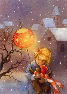 Art illustration from children's story books: Maja Dusikova Illumination Art, Children's Book Illustration, Book Illustrations, Whimsical Art, Paper Lanterns, Christmas Art, Vintage Cards, Vintage Children, Illustrators