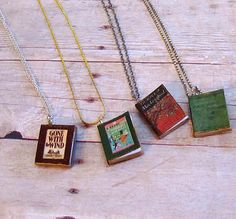 Different DIY book necklaces