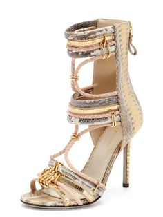 Snakeskin Gladiator Sandal by Sergio Rossi at Gilt  Because when shoes are 750.00$ US on sale, they'd better be fancy...