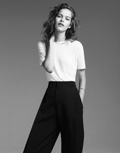 MINIMAL + CLASSIC: white top & high-waisted, wide leg trousers
