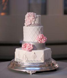 Pink & Gray Elegance Cake