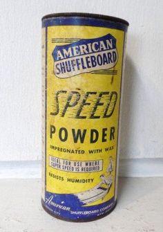 1950's Vintage American Shuffleboard Speed Powder Can American Shuffleboard Co.. $8.76, via Etsy.