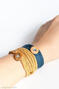 Crochet Wrap Bracelet with Button - One Dog Woof