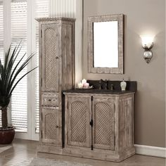 Infurniture Rustic Style Matte Ash Limestone Top 36-inch Bathroom Vanity with Matching Wall Mirror and Linen Tower