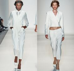 Rachel Zoe 2014 Spring Summer Womens Runway Collection - New York Fashion Week - Safari Zebra Stripes White Ensemble Motorcycle Biker Leathe...
