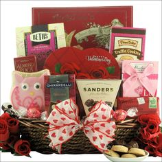 Valentine's Day Chocolate & Sweets Gift Basket Everyone loves chocolate and sweets for Valentine's Day so send them this gift basket full of yummy deliciousness. The My Sweet Valentine Gift basket is