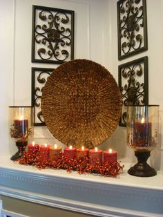 Autumn Candle Decorations | Fall Ideas for Thanksgiving Decorating, Fall Leaves and Candles ...