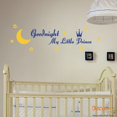 Goodnight My Little Prince - This lovely wall decal for kids room will make tucking your little boy to bed more special. www.decaleco.com #prince_wall_decal #baby_room_wall_decal #kids_wall_decor #nursery_wall_sticker #wall_stickers_for_kids_room