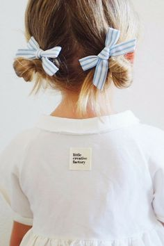This blue stripe hand-tied bow pigtail set is here just in time for your next summer adventure. // Free Babes Handmade X Briar Handmade Blue Stripe Pigtail Set. The perfect hair bow for your baby, toddler or little girl's free spirited style. Little Girl Fashion, Toddler Fashion, Toddler Outfits, Kids Outfits, Kids Fashion, Baby Girl Hairstyles, Toddler Hairstyles, Short Hairstyles, Teenage Hairstyles