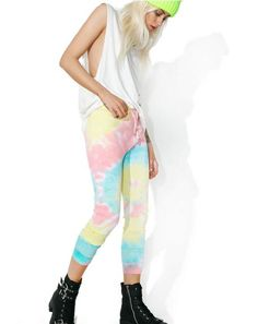Current Mood Acid Crush Tie Dye Pants are gunna melt 'em into a multicolor haze, babe~ Get mega comfy 'N tooootally cute in these dope pull-on pants, featurin' a stretchy thermal knit construction tie dyed to pastel perfection, banded cuffs, high waisted cut that ya can wear tall or let slouch into a drop-crotch, and a drawstring closure.