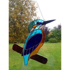 Stained Glass Kingfisher Suncatcher Tiffany technique Blue Glass Handmade Gift