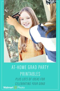 Celebrate your high school or middle school grad with a fun DIY party at home! Get the free printable pack by @somewhatsimple, full of colorful party decorations like banners, cupcake toppers, snack table labels, a family-friendly graduation game, and personalized invitations. All the things you need to make your graduate feel extra special! Visit the Somewhat Simple blog for last-minute graduation party tips, then check out the #WalmartPhoto website  for same day printing options! High School Graduation Gifts, Graduation Diy, Graduation Celebration, Personalized Graduation Gifts, Personalized Invitations, Simple Blog, Walmart Photos, Colorful Party, Table Labels