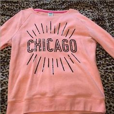 PINK coral Sweatshirt Has some wear that's noticeable, by the armpits. But overall it's in really good conditions no tears. Comes from smoke and pet free home PINK Victoria's Secret Tops Sweatshirts & Hoodies