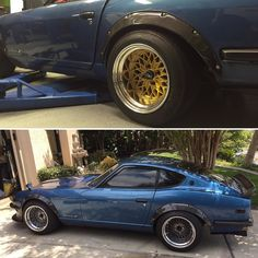 "Conflicted. Top or bottom?  15"" Glowstars or 16"" SSR Formula Mesh?  Tag a friend. Which should we go with?  #Datsun #datsun240z #zcar #s30 #wheels #ssr #glowstars #formulamesh"