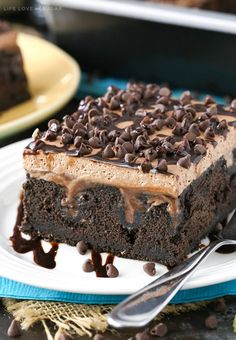 Guinness Chocolate Poke Cake - so moist and full of chocolate and Guinness flavor! Such a great dessert for St. Patrick's Day!