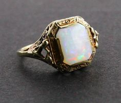 Antique 14K Gold Opal Stone Ring -  Ornate Filigree Art Deco Size 5 3/4 Fine Jewelry / Luminous Glow Solitaire.