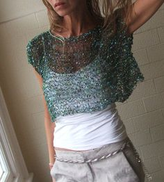 Turquoise blue silver and green Glamourous evening cover up ponch-weater