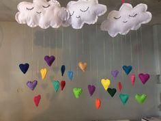 Rain cloud mobile heart raindrops rainbow by FairyTotsNdPixies