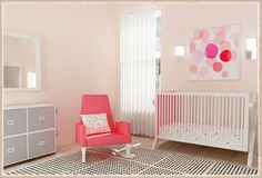 Pretty in Pink: Decorating Your Home With Tinges of Pink --- pink baby room design Contemporary Kids Furniture, Modern Childrens Furniture, Baby Room Design, Nursery Design, Pink Bedrooms, Girl Nursery, Nursery Ideas, Nursery Room, Room Ideas