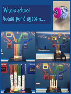 Whole school reward system. Helps promote positive behaviour. Pupils collect house points in the form of tokens and post them into their houses tube. Weekly totals are shared in whole school assembly and at the end of the half term the class with the most points gets a reward. It has proved very popular with the children!