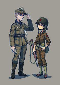 Anime Military, Military Girl, Fantasy Comics, Anime Fantasy, Comic Pictures, Manga Pictures, Cool Anime Girl, Anime Guys, Guerra Anime