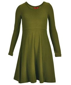 1st Kiss Big Girls Classic Empire LS Skater Dress  olive 14  16 *** Check this awesome product by going to the link at the image.