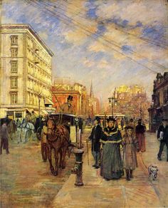 Theodore Robinson (American, 1852-1896), [Old Lyme Colony, Impressionism] Fifth Avenue at Madison Square, 1894-1895.